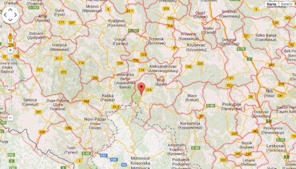aleksandrovac mapa srbije Karta srbije   Brzece, Kopaonik aleksandrovac mapa srbije